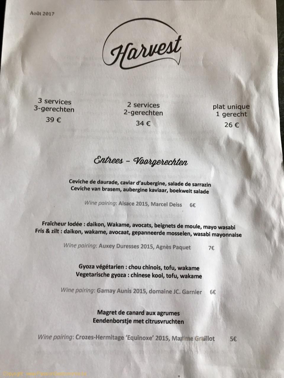 Restaurant Harvest - La carte des entrées