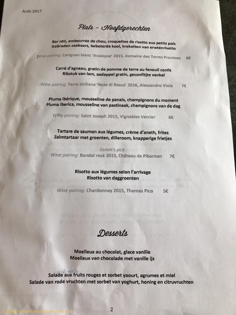 Restaurant Harvest - La carte des plats et les desserts